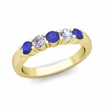 5 Stone Diamond and Sapphire Wedding Ring in 18k Gold
