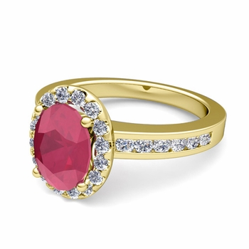 Diamond and Ruby Halo Engagement Ring in 18k Gold Channel Set Ring, 7x5mm
