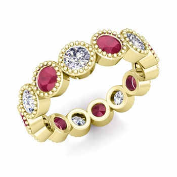 Milgrain Diamond and Ruby Eternity Band in 18k Gold 1.90 cttw