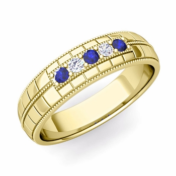 Sapphire and Diamond Mens Wedding Band in 18k Gold 5 Stone Ring, 5mm