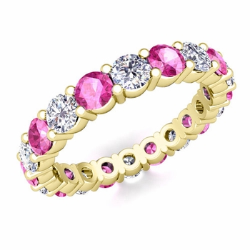 Diamond and Pink Sapphire Eternity Ring Band in 18k Gold