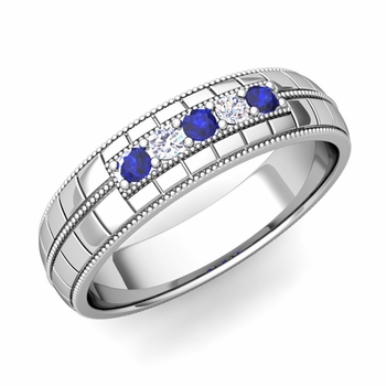Sapphire and Diamond Mens Wedding Band in Platinum 5 Stone Ring, 5mm