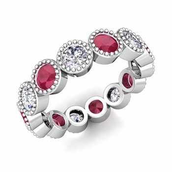 Milgrain Diamond and Ruby Eternity Band in 14k Gold 1.90 cttw