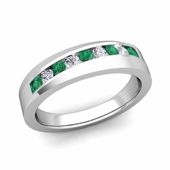 Channel Set Diamond and Emerald Wedding Band in 14k Gold, 4mm