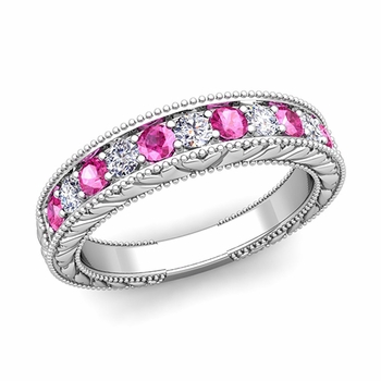 Vintage Inspired Diamond and Pink Sapphire Wedding Ring Band in 14k Gold