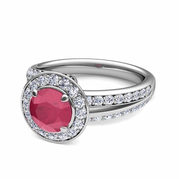 Wave Diamond and Ruby Halo Engagement Ring in Platinum, 6mm