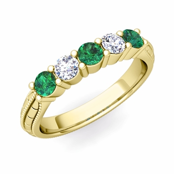 Milgrain Emerald and Diamond Wedding Band in 18k Gold 5 Stone Ring, 3mm