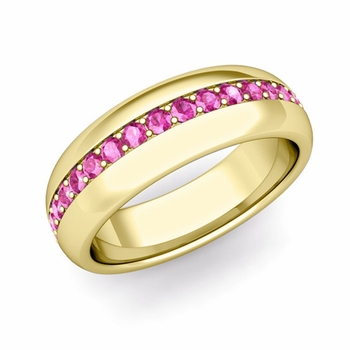 Pave Set Comfort Fit Pink Sapphire Wedding Band Ring in 18k Gold, 5.5mm