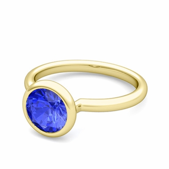 Bezel Set Solitaire Ceylon Sapphire Ring in 18k Gold, 7mm