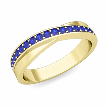 Infinity Blue Sapphire Wedding Ring Band in 18k Gold, 3.8mm
