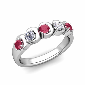 Organica 5 Stone Diamond and Ruby Wedding Ring in 14k Gold, 3.5mm
