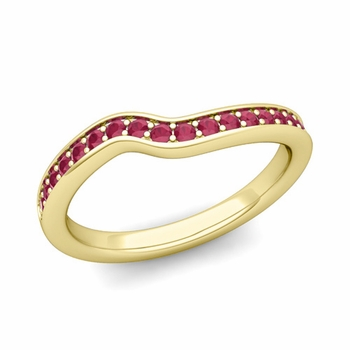 Petite Curved Ruby Wedding Band Ring in 18k Gold