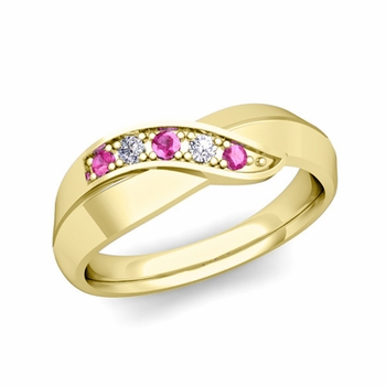 5 Stone Pink Sapphire and Diamond Wedding Ring in 18k Gold Infinity Ring Band, 5.2mm
