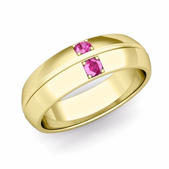 Mens Comfort Fit Pink Sapphire Wedding Band Ring in 18k Gold, 6mm