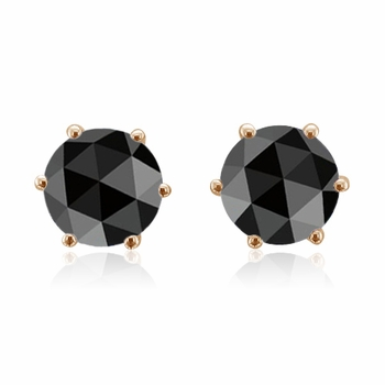 Rose Cut Black Spinel Stud Earrings In 14k Gold Studs 1 80 Cttw 6mm
