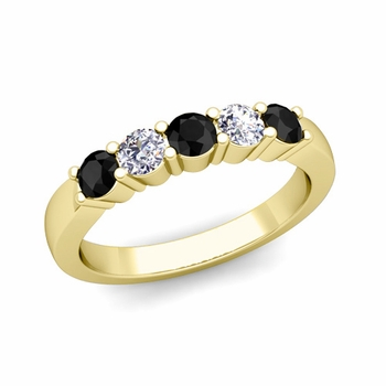 5 Stone Black and White Diamond Wedding Ring in 18k Gold