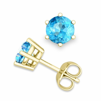 Blue Topaz Stud Earrings in 18k Gold 6 Prong Studs, 6mm