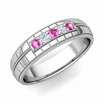 Pink Sapphire and Diamond Mens Wedding Band in Platinum 5 Stone Ring, 5mm