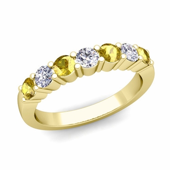 7 Stone Diamond and Yellow Sapphire Wedding Ring in 18k Gold