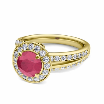 Wave Diamond and Ruby Halo Engagement Ring in 18k Gold, 6mm