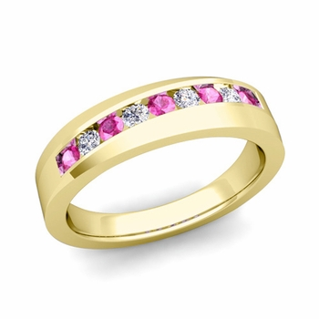 Channel Set Diamond and Pink Sapphire Wedding Band in 18k Gold, 4mm