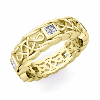 Princess Cut Diamond Ring in 18k Gold Celtic Knot Wedding Band, 5mm