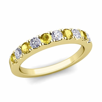Brilliant Pave Diamond and Yellow Sapphire Wedding Ring Band in 18k Gold