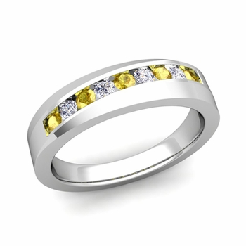 Channel Set Diamond and Yellow Sapphire Wedding Band in Platinum, 4mm