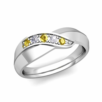 5 Stone Yellow Sapphire and Diamond Wedding Ring in 14k Gold Infinity Ring Band, 5.2mm