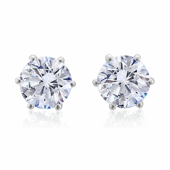 Diamond Earrings in 18k White Gold 6 Prong Setting FG, VS2, 1.50 cttw