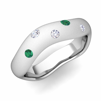 Curved Diamond and Emerald Wedding Ring in Platinum, Satin Finish, 5mm