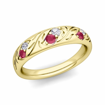 Vintage Inspired Diamond and Ruby Wedding Ring in 18k Gold 3.8mm