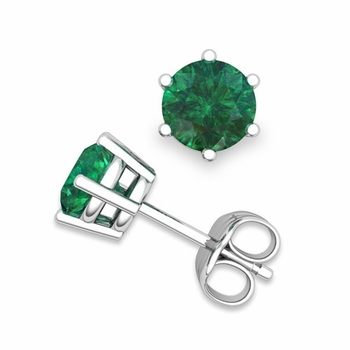 Emerald Stud Earrings in 14k Gold 6 Prong Studs, 6mm