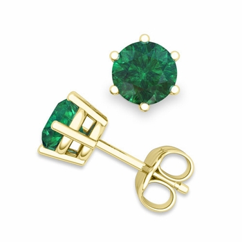 Emerald Stud Earrings in 18k Gold 6 Prong Studs, 6mm