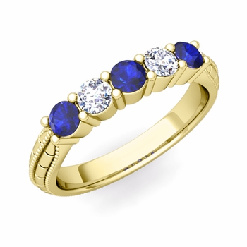 Milgrain Sapphire and Diamond Wedding Band in 18k Gold 5 Stone Ring, 3mm
