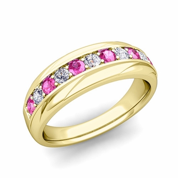 Brilliant Diamond and Pink Sapphire Wedding Ring Band in 18k Gold, 6mm