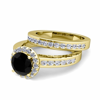 Halo Bridal Set: Black and White Diamond Engagement Wedding Ring in 18k Gold, 7mm