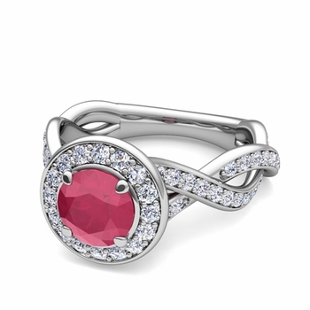Infinity Diamond and Ruby Halo Engagement Ring in 14k Gold, 5mm