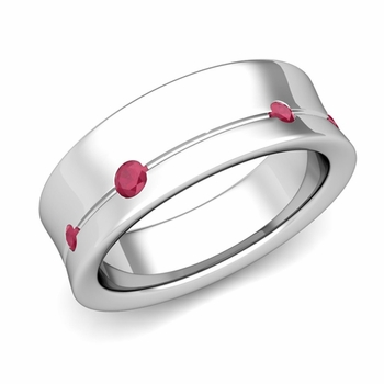 Flush Set Ruby Wedding Band Ring in 14k Gold, 5mm