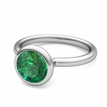 Bezel Set Solitaire Emerald Ring in Platinum, 7mm