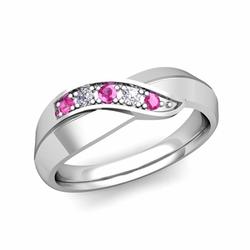 5 Stone Pink Sapphire and Diamond Wedding Ring in Platinum Infinity Ring Band, 5.2mm