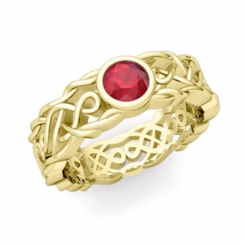 Solitaire Ruby Ring in 18k Gold Celtic Knot Wedding Band, 6.5mm