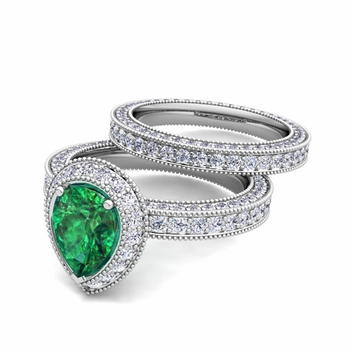 Milgrain Pear Shaped Emerald Engagement Ring Bridal Set in Platinum, 8x6mm