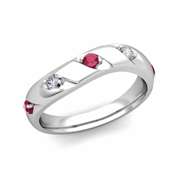 Curved Ruby and Diamond Wedding Ring Band in 14k Gold, 3.5mm