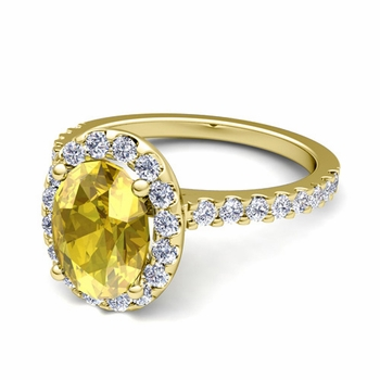 Petite Pave Set Diamond and Yellow Sapphire Halo Engagement Ring in 18k Gold, 8x6mm