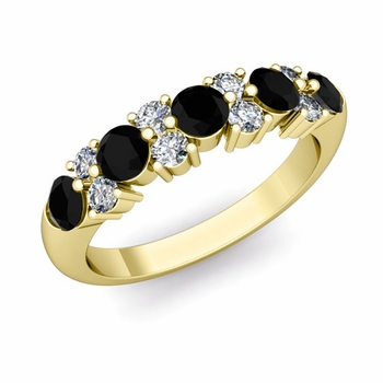 Garland Black and White Diamond Wedding Ring in 18k Gold