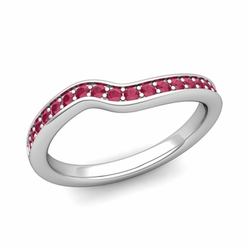 Petite Curved Ruby Wedding Band Ring in 14k Gold