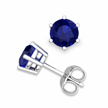 Sapphire Stud Earrings in 14k Gold 6 Prong Studs, 6mm
