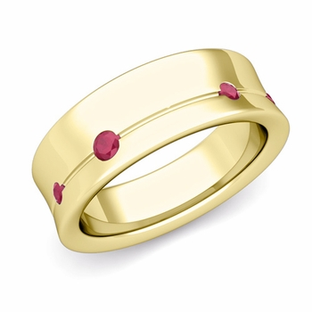 Flush Set Ruby Wedding Band Ring in 18k Gold, 5mm