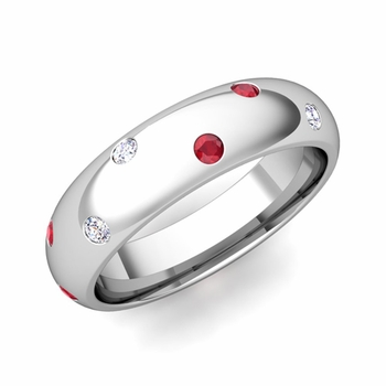 Scattered Ruby and Diamond Wedding Eternity Band in Platinum, 5mm